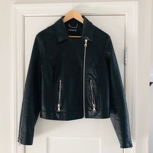 Black Faux Leather Moto Jacket